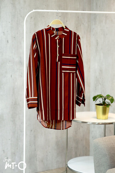 Yusra Striped Top in Rust Brown