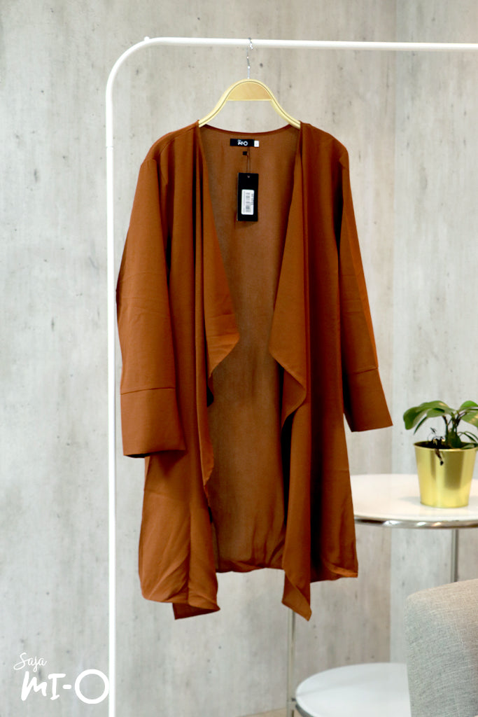 Tabinda Ruffle Cardigan in Rust Brown - Saja Mi-O