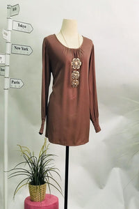 Charisse Flowy Round Neck and Elastic Arm - Brown - Saja Mi-O