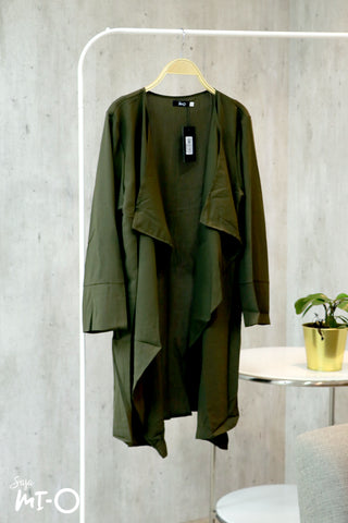 Tabinda Ruffle Cardigan in Army Green