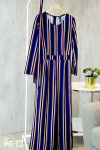 Aliyah Striking Stripes Jumpsuit in Navy and Red - Saja Mi-O