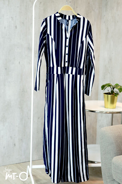 Aliyah Striking Stripes Jumpsuit in Navy - Saja Mi-O