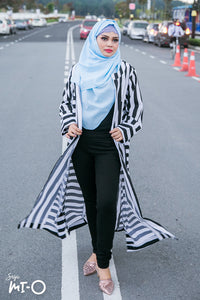 Xyra Striped Cardigan in Black