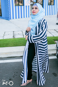 Xyra Striped Cardigan in Navy