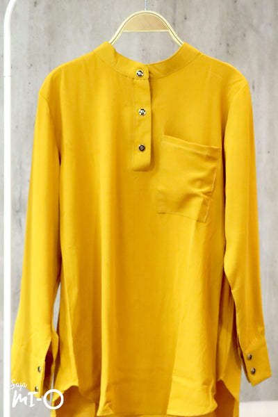 Yusra Plain Top in Mustard