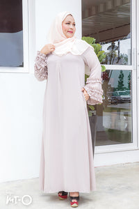 Lea Bell Sleeve Dress with Frill Details in Beige - Saja Mi-O