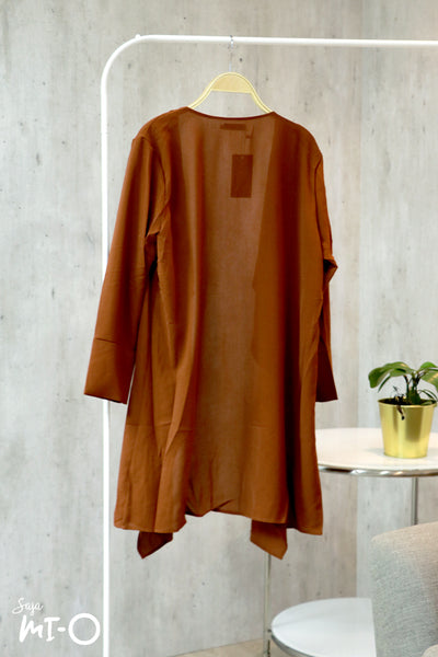 Tabinda Ruffle Cardigan in Rust Brown