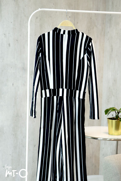 Aliyah Striking Stripes Jumpsuit in Black - Saja Mi-O