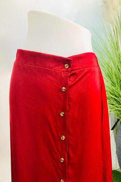 Celeste Button Down Asymmetrical Hem Skirt in Crimson - Saja Mi-O