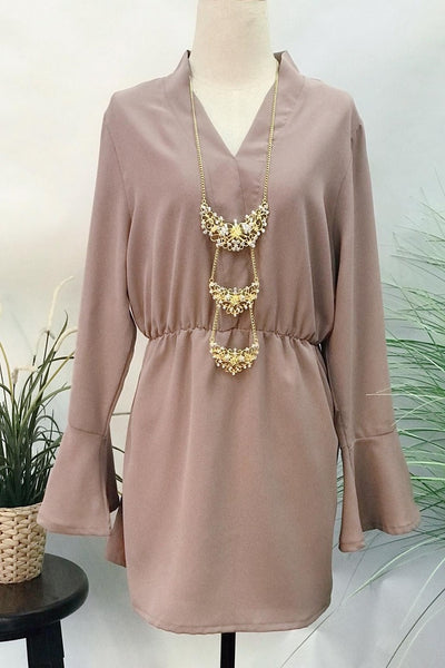 Shellah V-Neck Flare Sleeve Top in Brown - Saja Mi-O