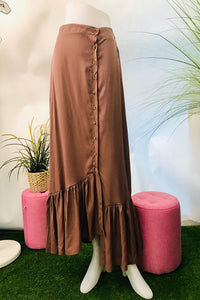 Celeste Button Down Asymmetrical Hem Skirt in Brown - Saja Mi-O