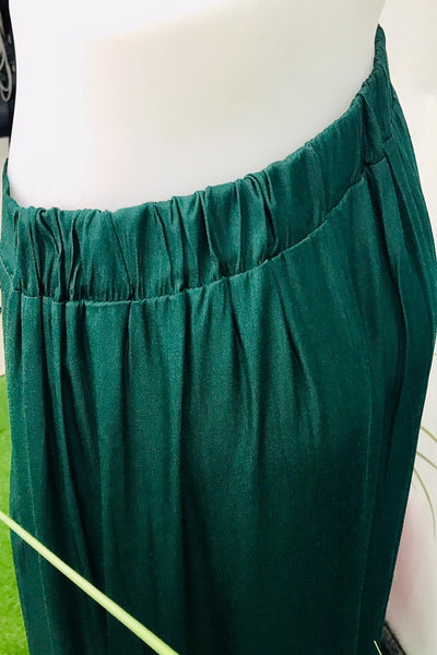 Celeste Button Down Asymmetrical Hem Skirt in Forest Green - Saja Mi-O