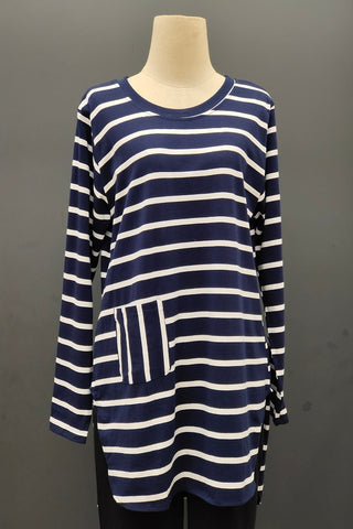 M-Series Slimming Top in Stripe Navy Blue