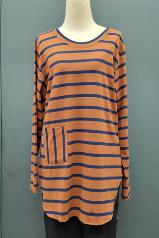 M-Series Slimming Top in Stripe Golden Brown