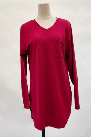 Aurora V-Neck Top in Burgundy