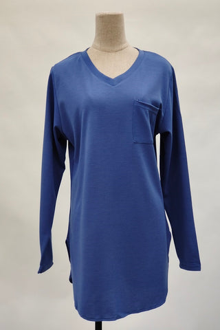 Aurora V-Neck Top in Blue