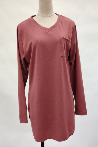 Aurora V-Neck Top in Salmon