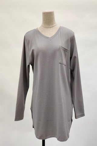 Aurora V-Neck Top in Grey