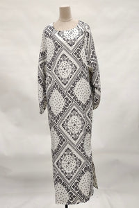 Hajra Printed Abaya in White