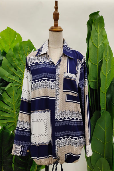 Narda Printed Collared Top in Navy Blue.2