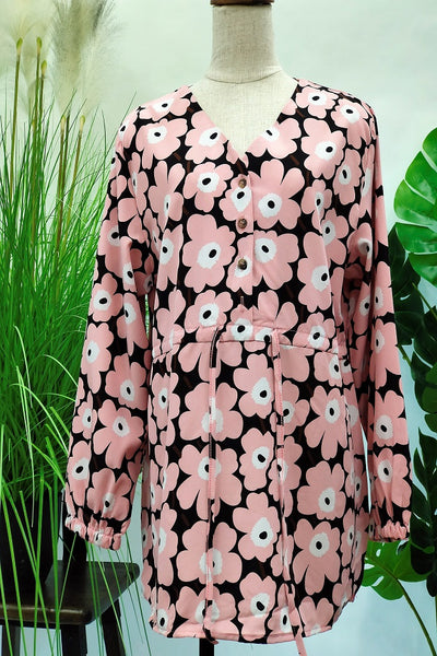 Carissa Mid Button Top in Floral Pink
