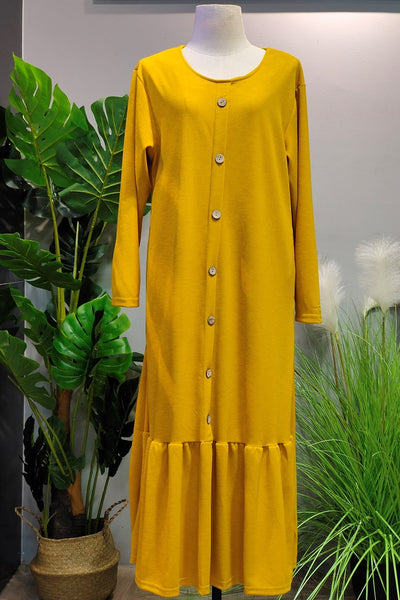 Selena Drop Hem Dress in Yellow