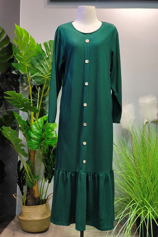 Selena Drop Hem Dress in Green