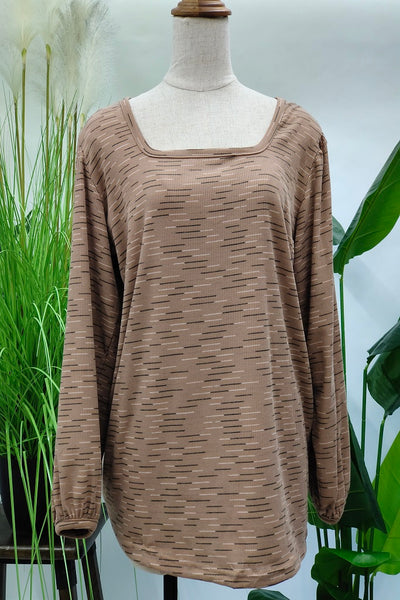Marian Wide Neck Printed Top in Brown