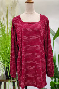 Marian Wide Neck Printed Top in Dark Red