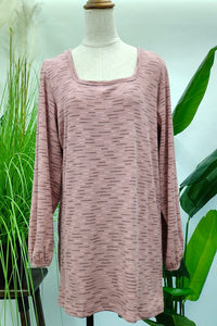 Marian Wide Neck Printed Top in Pink