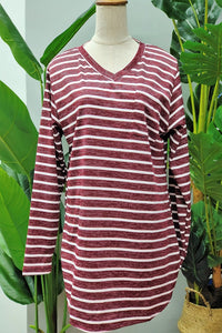 Verna V-Neck Stripe Top in Red
