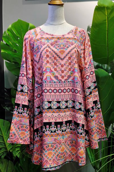 Amelia Printed Flare Top in Pink