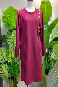 Danica Button Design Long Top in Maroon