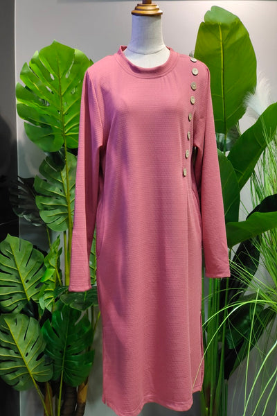 Danica Button Design Long Top in Pink