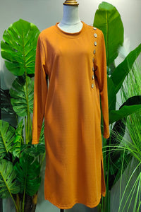 Danica Button Design Long Top in Orange