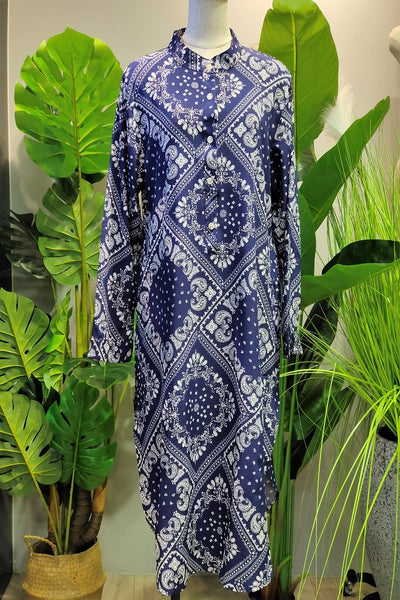 Thalia Printed Tunic in Navy Blue