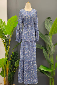 Helga Four Layer Flowy Dress in Floral Blue