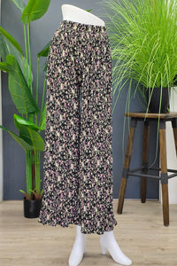 Floral Pleated Pants in Black