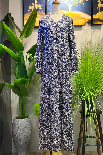 Elizabeth Four Layer Flowy Dress in Floral Navy Blue