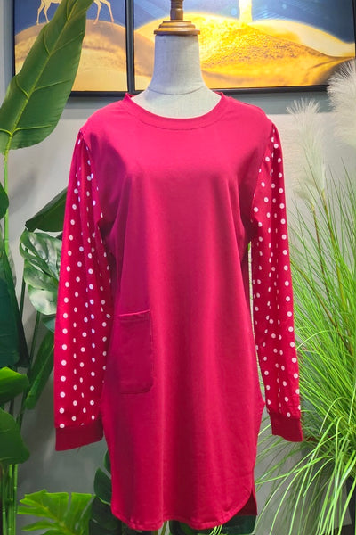 Scarlett Printed Sleeve Top in Red
