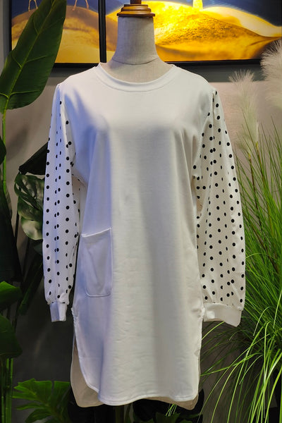 Scarlett Printed Sleeve Top in White