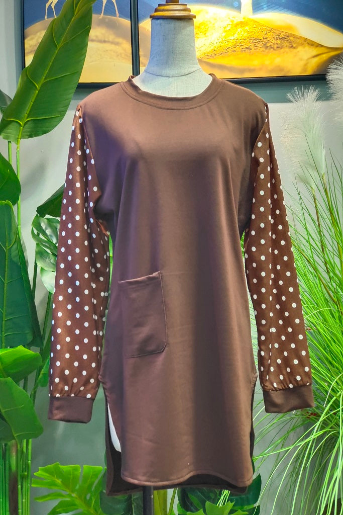 Scarlett Printed Sleeve Top in Brown