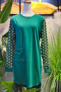 Scarlett Printed Sleeve Top in Green