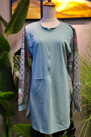 Monica Printed Sleeve Top in Mint Green