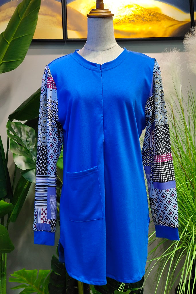Monica Printed Sleeve Top in Blue