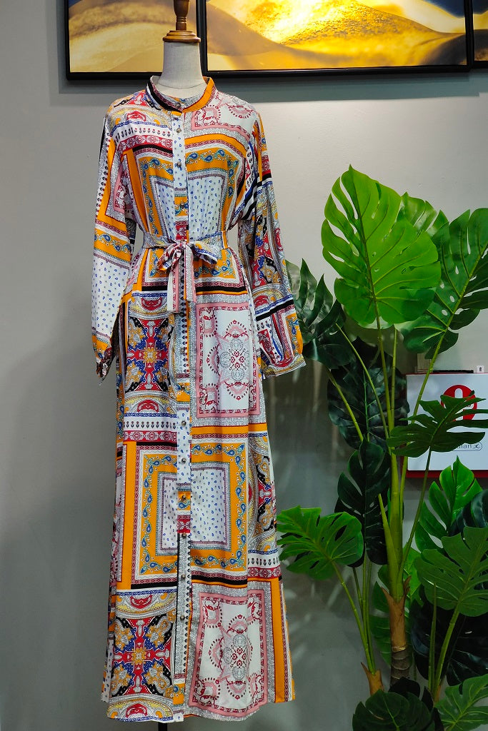 Marshy Dress in Printed Yellow