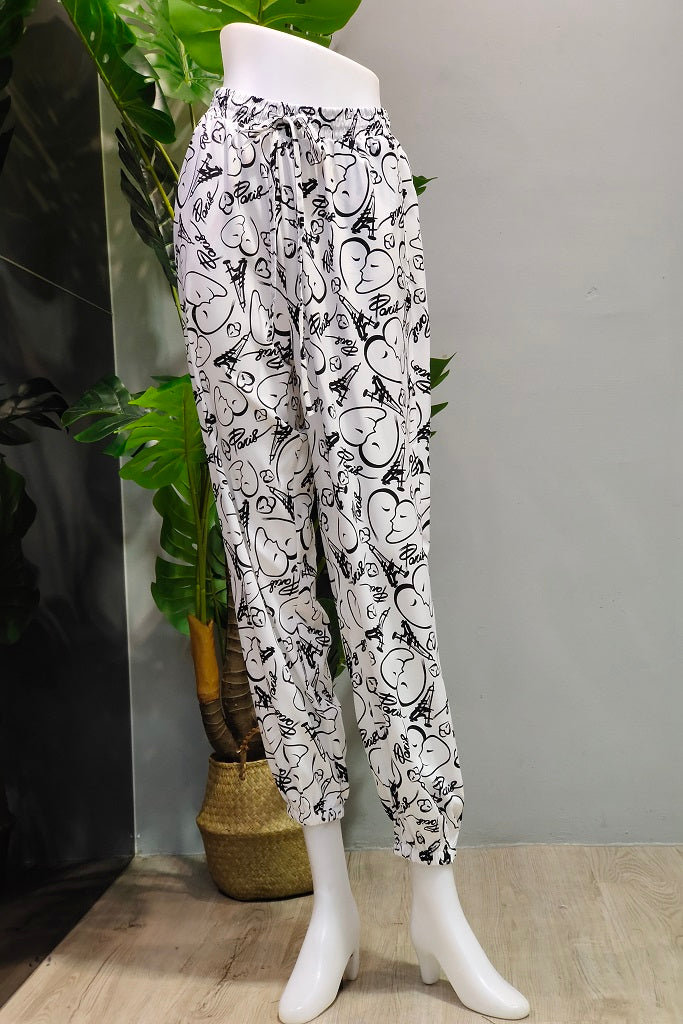 Printed Jogger Pants in Paris White