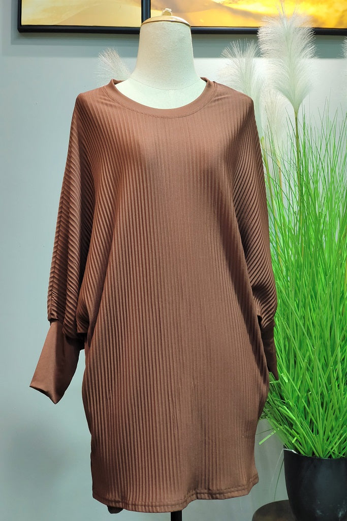 Valerie Pleated Batwing in Brown