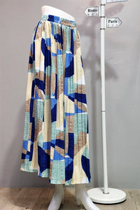 Ellen Pleated Skirt in Printed Blue