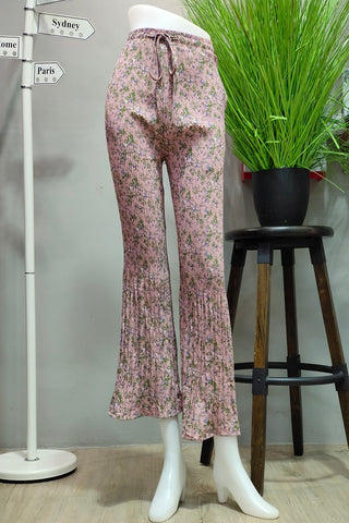 Bianca Pleated Pants in Printed Pink